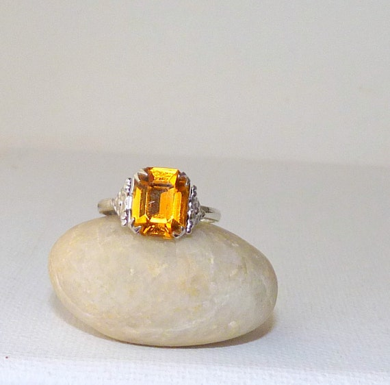 Sterling Silver Single stone Citrine Ring 925 silver Oval cut real Citrine sz 7