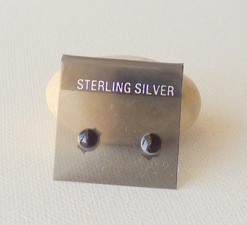 Sterling Silver Onyx Stud 925 Black Earrings Minimalist Black 4 mm Pierced Earrings Stud Earrings 925 Petite Earrings Tiny Jewelry 925