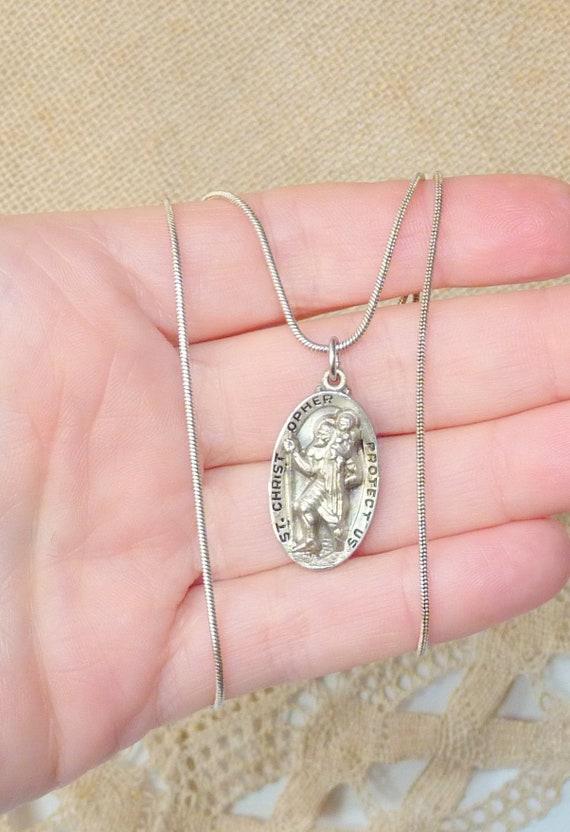 Finition Antique Saint Christopher religieux médaille pendentif argent sterling 925