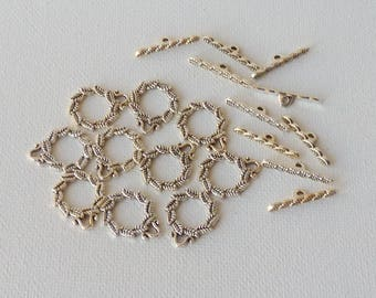 10 Toggle Clasp Sets Wreath Toggle Clasp 15 mm Circe Leaves Clasp Antique Silver Tine Findings, Handmade Jewelry Supplies, Craft Findings