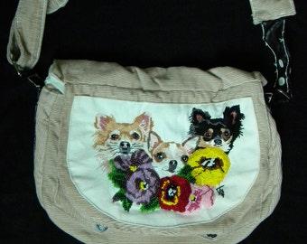 HANDBAG with embroidered chihuahua