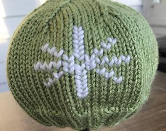 Hand Knit Snowflake Hat