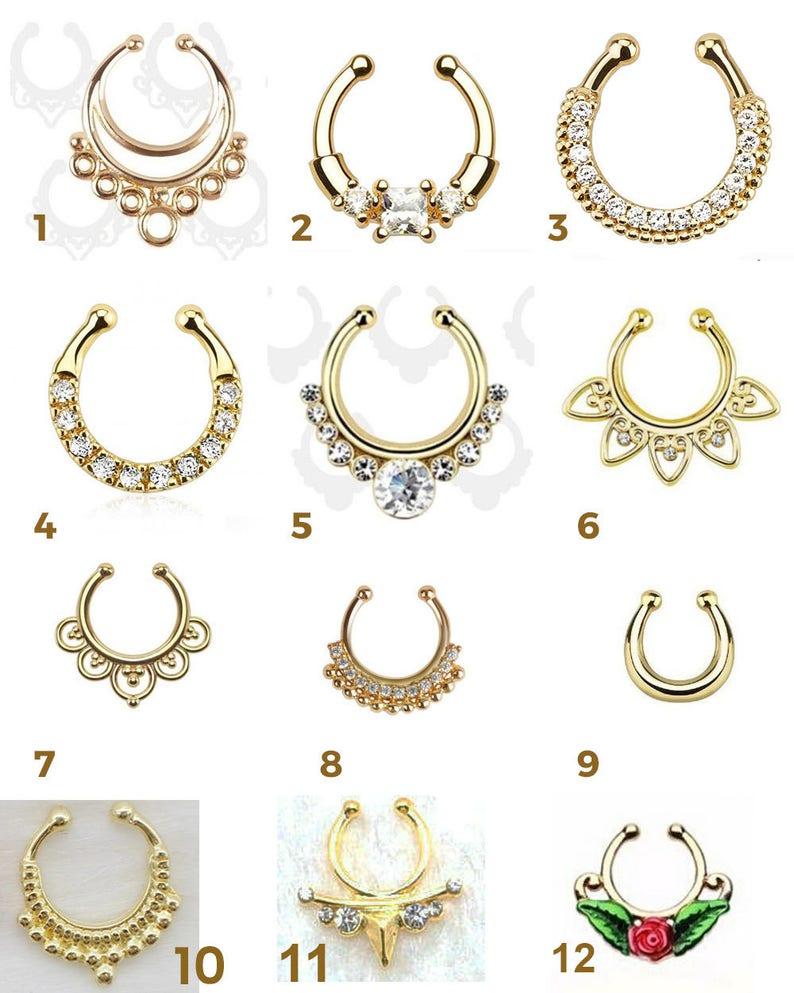 Fake Piercing ring Septum gold yellow woman man mixed nose jewelry