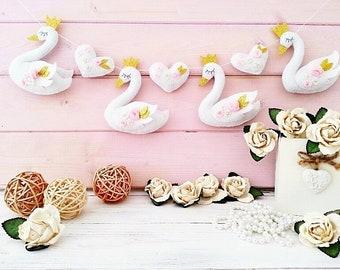 Felt garland, Nursery Swan Decor, Swan Princess, Girl Nursery Garland, Baby Girl Gift, Pink Gold Nursery, Swan Party, Kids Wall Hanging