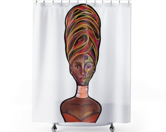 Black Queen African Head Wrap Afrocentric Shower Curtain Girl Magic Classy Curtains