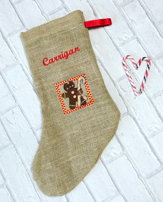 Personalised Christmas Stocking Handmade Red Gingerbread Man-with white snowman and Xmas stars