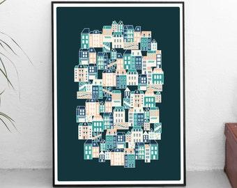 Affiche poster graphic design architecture illustration The hidden village