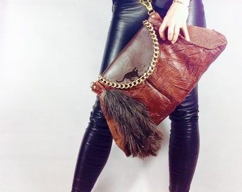 Handmade Brown Genuine Leather Handbag Clutch Bag