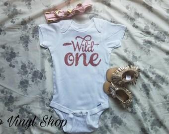 Baby Girl First Birthday Wild One Onesie
