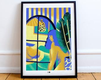 AFFICHE VERRIERE- Miroir - plante - botanique - nue - femme - corp -  illustration - lit - body positive_ reflet