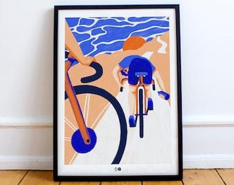 AFFICHE CYCLISTE - Vélo - pédale - illustration - décoration - triathlon - décoration - sport - tour de france -