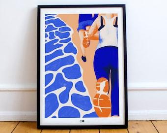 AFFICHE RUNNING - course - sport - triathlon - illustration - mer - plage - cadre - décoration - basket - sable