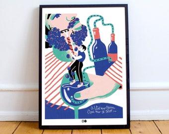 AFFICHE VIN - Bouteille - oenologie - bouchon - illustration - print - cadre - raisin - alcool - france - décoration