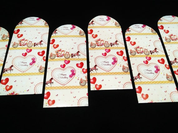 6 Pieces Wedding Envelope Money Envelope Money Pocket Angpau Hong Bao for Valentine Chinese New Year Christmas Birthday Wedding