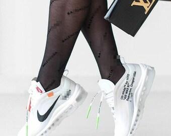 20200ea7243fc Black B Monogram Style High-Waist Tights, Gucci Tights, Balenciaga Tights