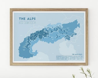 Alps map | Etsy