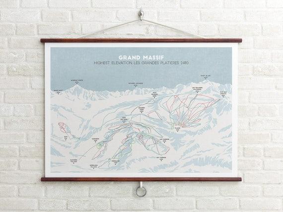 Grand Massif Ski Piste Map Flaine Les Carroz Ski Map Ski | Etsy