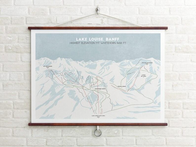 Map Of Canada Lake Louise.Lake Louise Ski Trial Map Banff Canada Ski Map Ski Art Snowboard Art Ski Gifts Gifts For Him Or Her