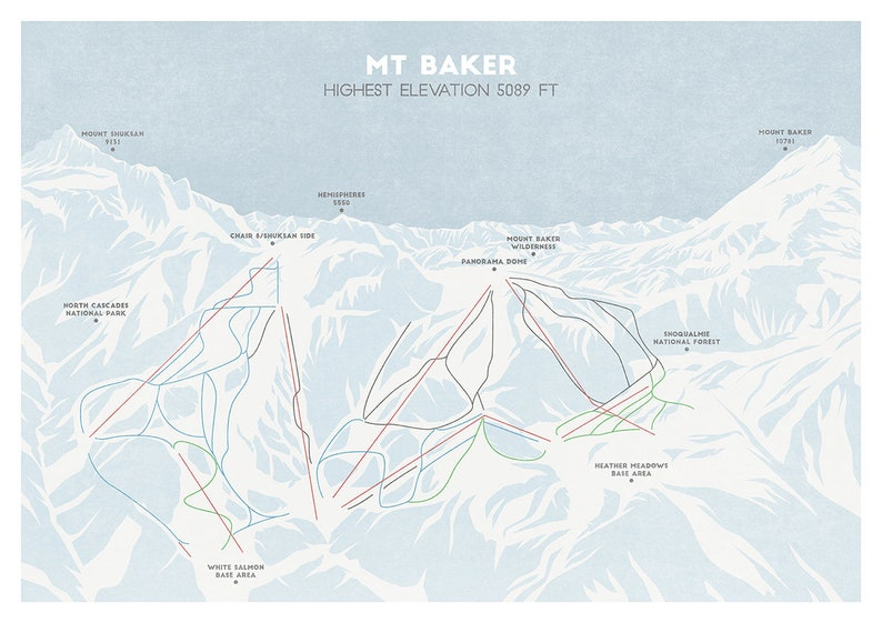 Mt Baker Ski Trail Map, Ski Piste Map, Ski Art, Snowboard Art, Ski Gifts,  Unique Gift
