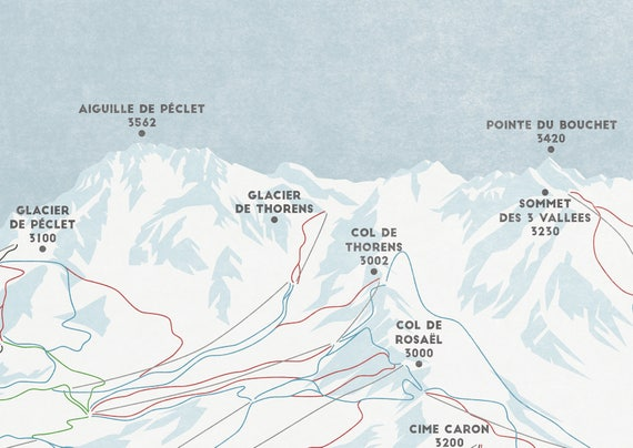 Val Thorens And Orelle Ski Piste Map Ski Map Les 3 Vallees Ski Region Print Ski Art Snowboard Art Ski Gifts