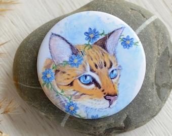 Magnet cat, Bengal cat, flower cat / fridge magnet / gift idea