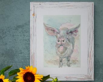 Original watercolor artwork, pig, Anton vom Lebenshof, half sale price will be donated!