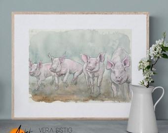Pig pig gang original watercolor artwork, half sale price will be donated!