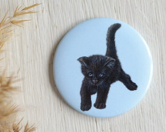 Magnet black baby kitten, kitten, big fridge magnet/ gift idea
