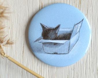 Cat in cardboard, box, large magnet, refrigerator magnet / gift idea