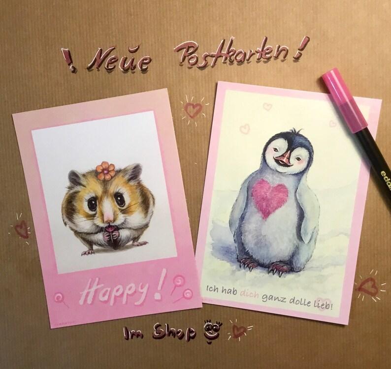 Postkarte Ich hab dich ganz dolle lieb Pinguin   Etsy