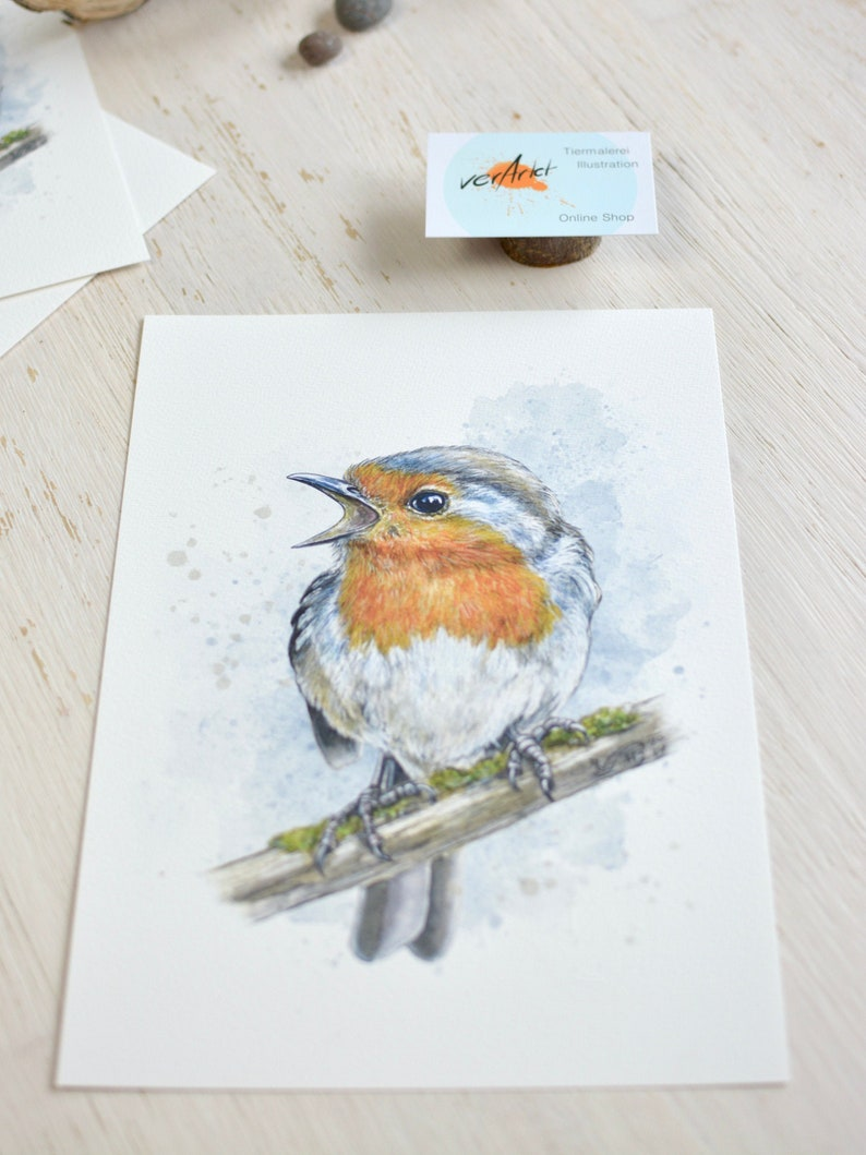 Redthroat watercolor giclee art print limited edition image 0