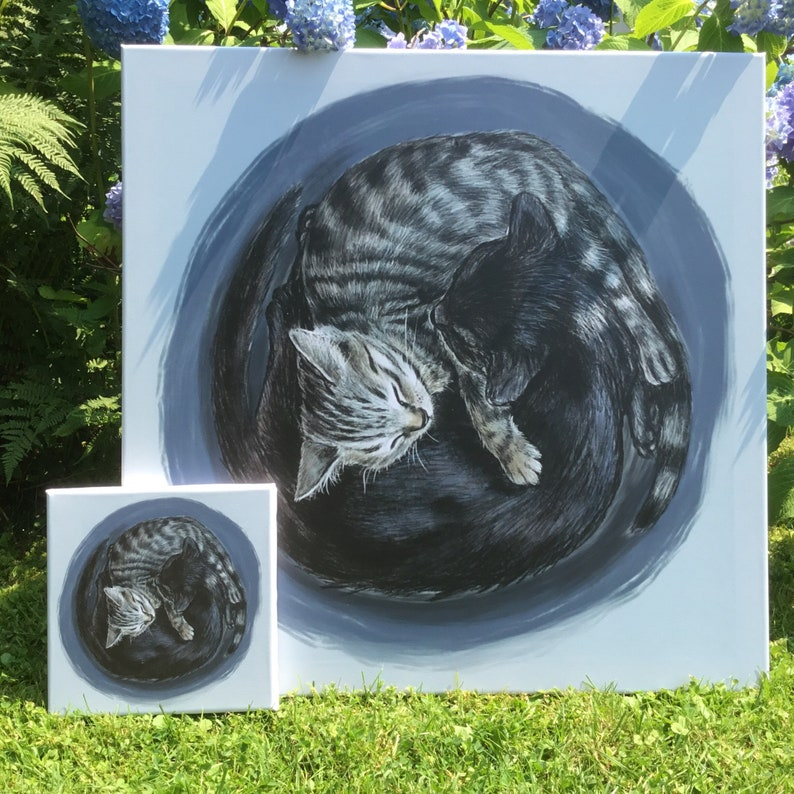 Yin and Yang Cats on Canvas  Hand-finished Print  Large image 0