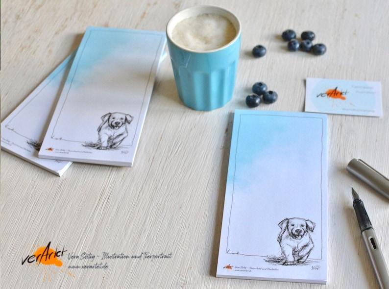 Dog Retriever Notepad Writer's Pad Shopping List Puppies image 0