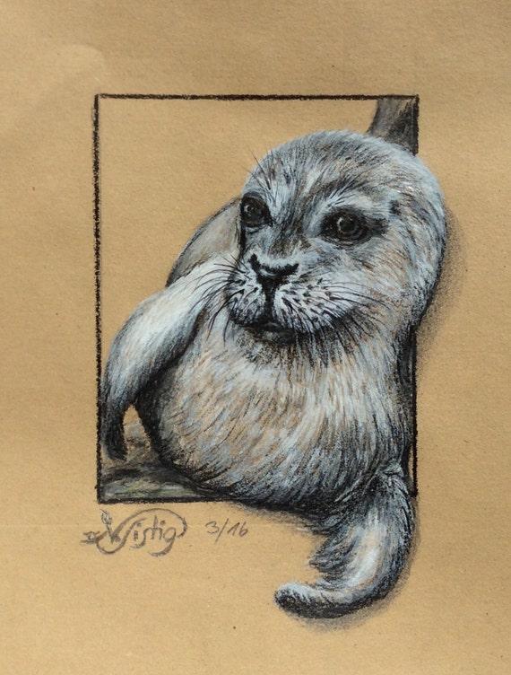 En Etsy Robbe Tierbild A Similares Zeichnung Original Artículos Heuler iTXZOPukwl