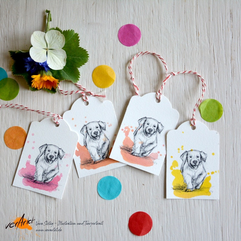 Golden Retriever gift tag hand painted watercolor colorful set image 0