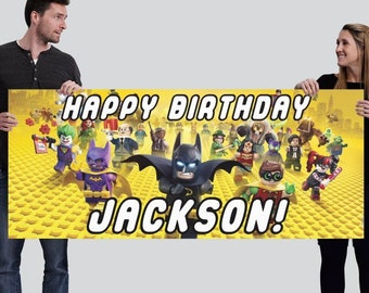 Customized Happy Birthday Banner Design - Lego Batman
