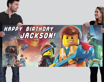Customized Happy Birthday Banner Design - Lego Movie
