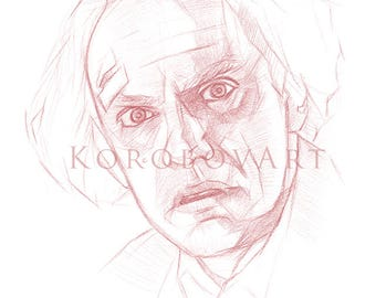 Doc Brown Art, Back to the Future Art, Doc Brown print, Emmett Brown, Back to the Future print, Christopher Lloyd Back to the Future poster