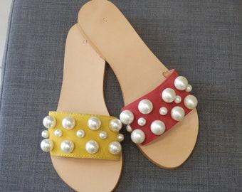 Greek pearls  sandals, Greek leather sandals, Slip on sandals, Leather slippers,Pearls sandals, Summer sandals, Romantic pearls sandals,