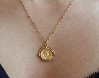 Gold coin necklace etsy greek christian coin necklace coin charm bohemian jewelry byzantine coin pendant orthodox gold coin necklace gold coin pendant aloadofball Choice Image