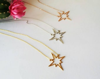 North star Necklace, Sterling silver charm,  Valentines day, gift for her, North star pendant, Gift for her, Minimalist jewerly