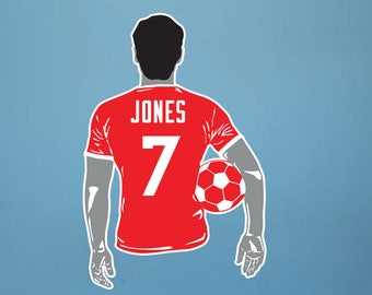 Soccer Decal Soccer Wall Decal Custom Name and Number Hair Color 50 Colors 2 Colors per Decal