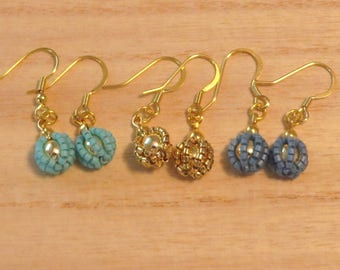 Beaded ball pierce  / Turquoise blue, Blue or Gold