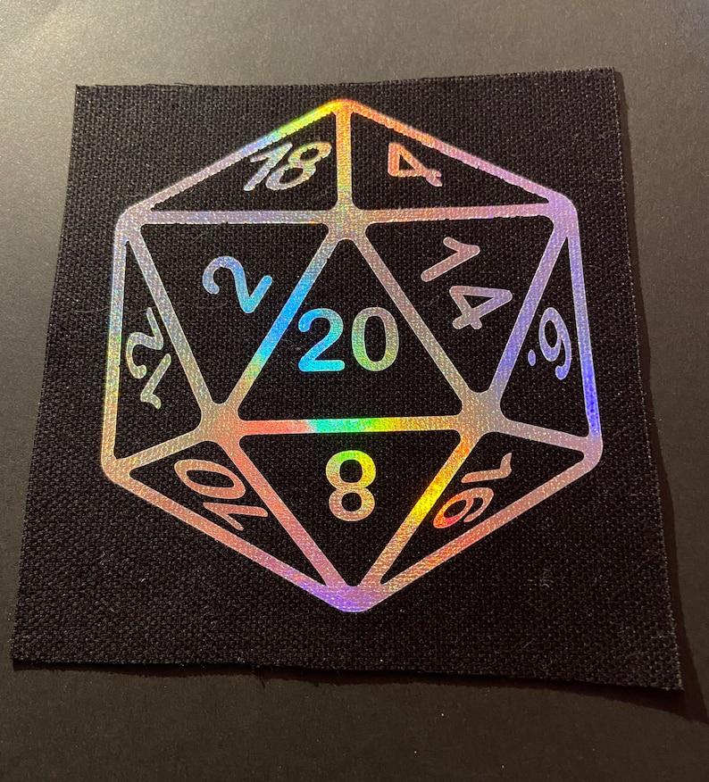 Holographic D20 canvas patch