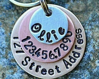 c5bccc144571 Dog Tags - Pet ID Tags - Cat Tag - Pet Accessories - Collar Tags - Pets - Pet  Tag - Custom ID - Mixed Metals includes street address
