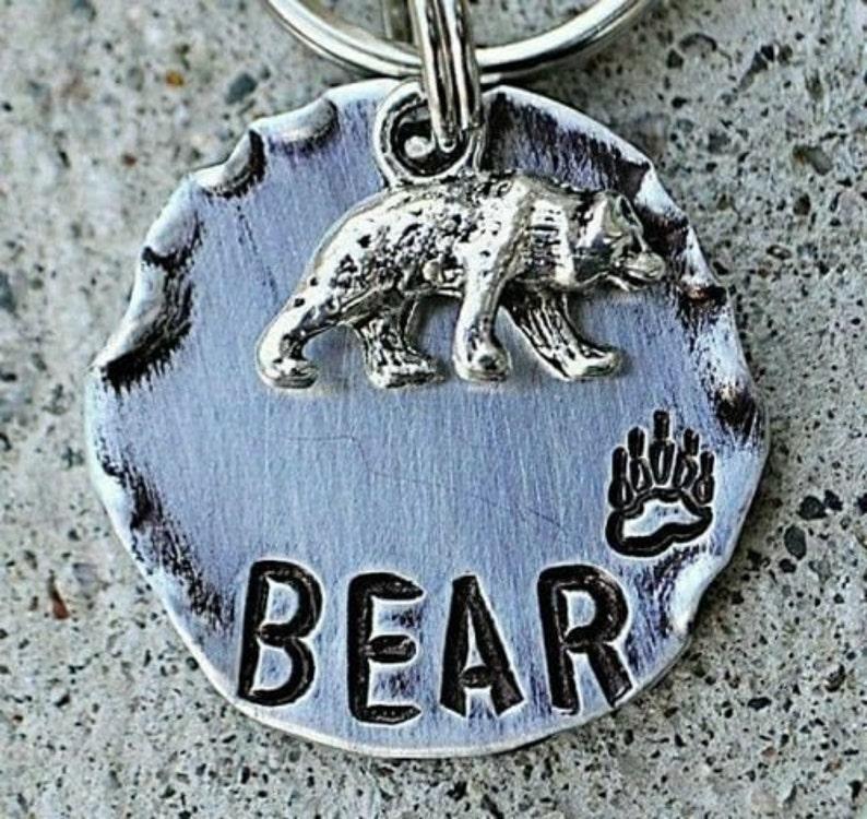 Dog Tag Bear Dog Tag Hand Stamped Dog Tag