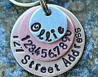 Dog Tags - Pet ID Tags - Cat Tag - Pet Accessories - Collar Tags - Pets - Pet Tag - Custom ID - Mixed Metals includes street address