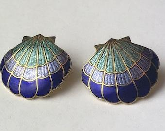 Vintage Seashell Cloisonne style pierced earrings