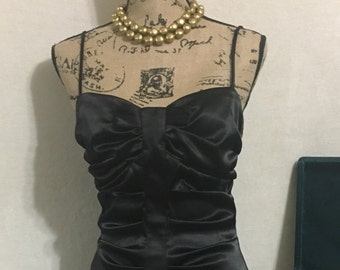 Vintage 1980's Black Satin Party dress