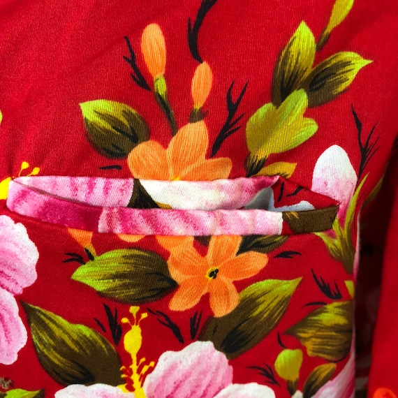 Hawaiian Maikai Floral Vintage and shirt up Pink button Ui aloha Red qUwRtg